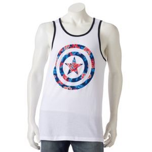 Marvel Captain America Floral Tank Men's New